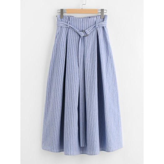 Jewish Girl D-Ring Belt Detail Box Pleated Pinstripe Skirt