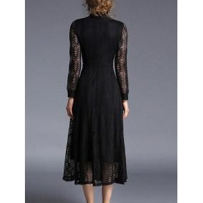 Jewish Girl Hollow Out Sheer Lace Shirt Dress