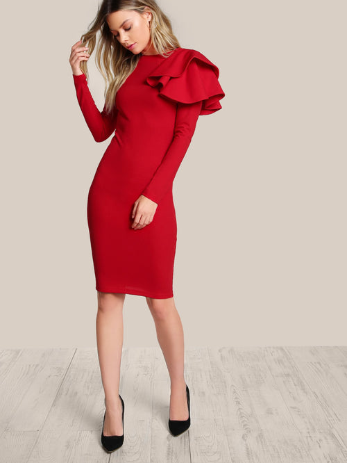 Elegant Flower Sleeve Bodycon Dress
