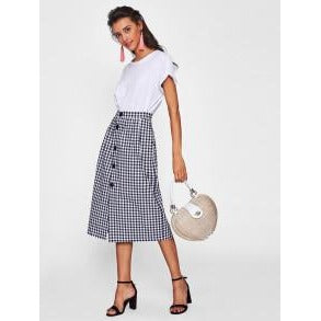 Jewish Girl Gingham Single Breasted Skirt