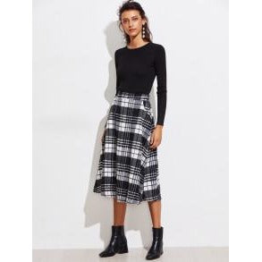 Black & White Winter Midi A-Line Skirt