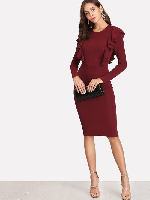 Burgundy Ruffle Trim Pencil Dress