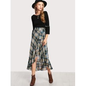 Jewish Girl Madras Plaid Ruffle Hem Wrap Skirt