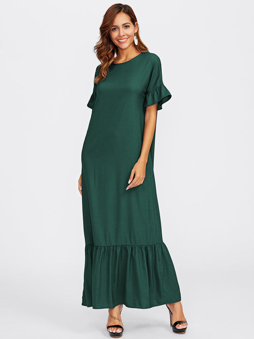 Green Ruffle Sleeve Tiered Hem Long Maxi Dress