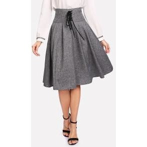 Jewish Girl Grommet Lace Up Waist Boxed Pleated Skirt