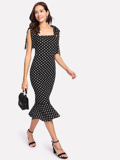 Mermaid Self Tie Shoulder Polka Dot Ruffle Hem Pencil  Midi Dress