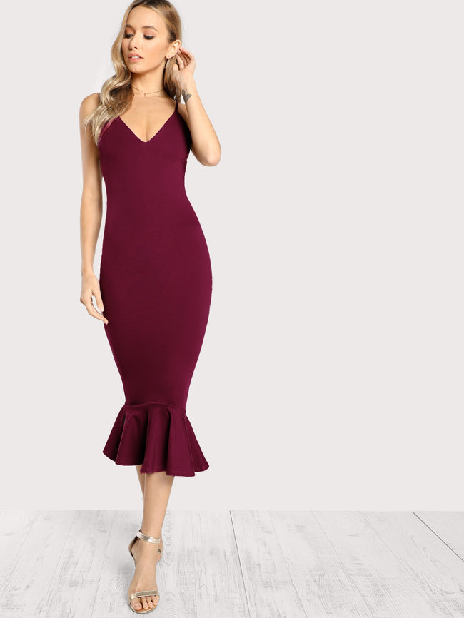 Burgundy Mermaid Bodycon Midi  Dress
