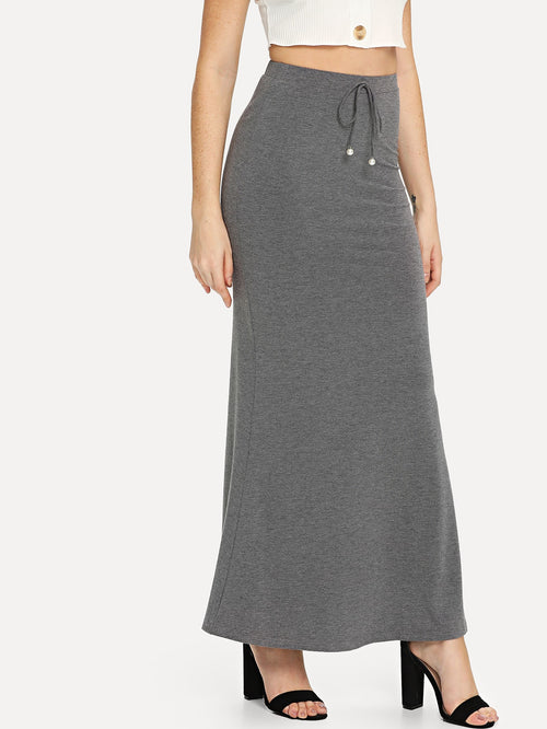 Knot Front Heathered Knit Maxi Skirt