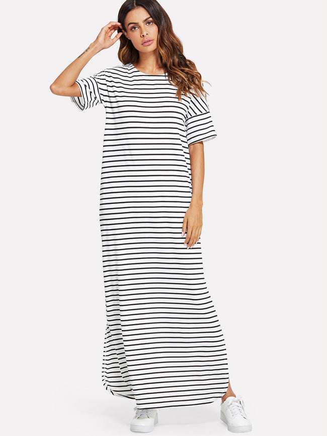 House Tee Side Slit Striped Maxi Dress