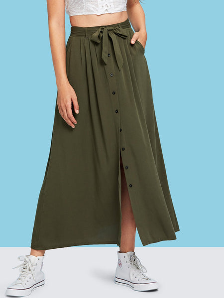 Army Green Button & Split Belted A-Line Maxi Skirt