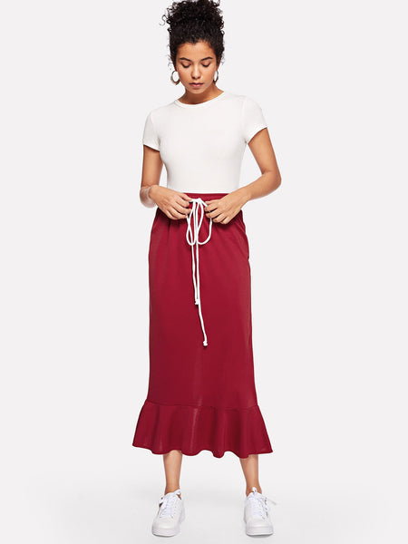 Red Sheath Waist Ruffle Midi Skirt