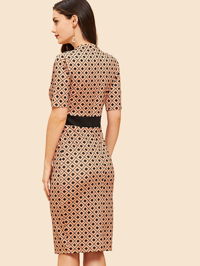 Geometric Print Pencil Dress