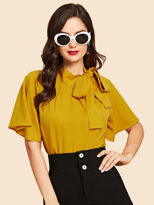 Yellow Flutter Sleeve Tie Neck Blouse