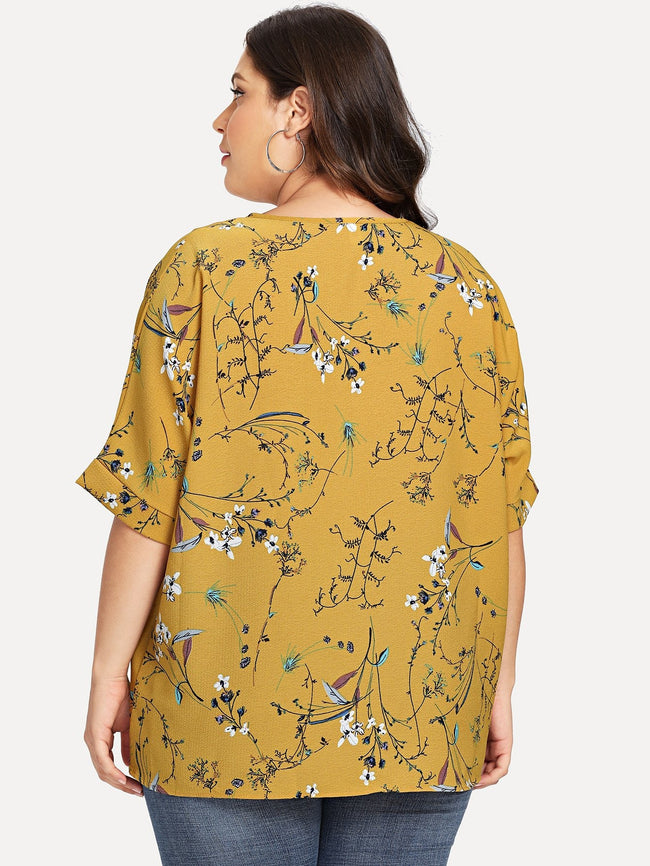 Yellow Plus Size Asymmetrical Floral Prin Blouse