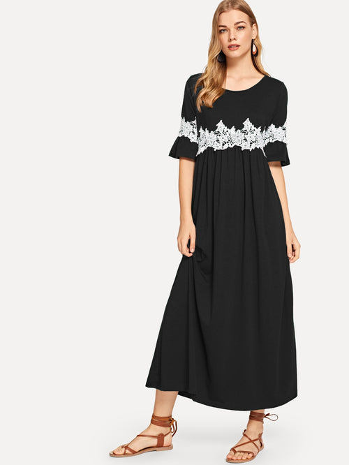 Black 3/4 Sleeve Lace Long  Maxi Dress