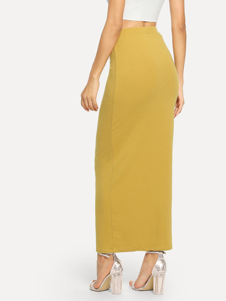 Yellow Solid Button Front Bodycon Skirt