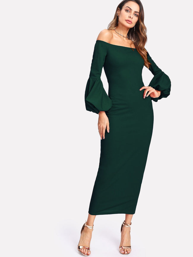 Long Sleeve Bodycon Off the shoulder Elegant Maxi Dress