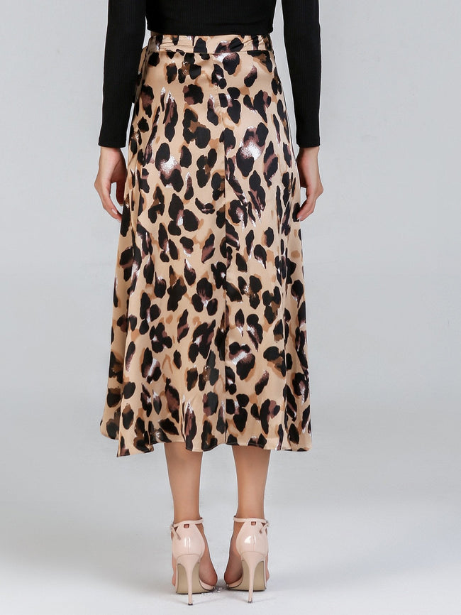 Brown & Black Knot Leopard Print  Midi Skirt Wrap Skirt