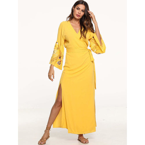 Yellow Embroidered Wrap Beach Maxi Dress