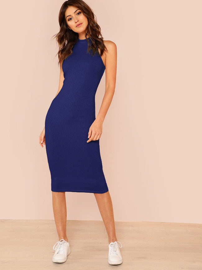 Blue Green Or Pink Mock Neck Rib Knit Bodycon  Dress