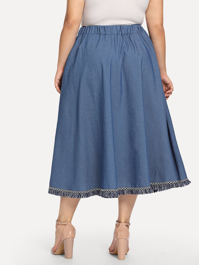 Denim Fringe Hem Single Breasted Plus Size A-line Skirt