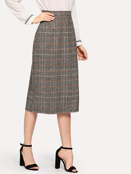 Khaki Elegant Straight Zip Back Midi Skirt