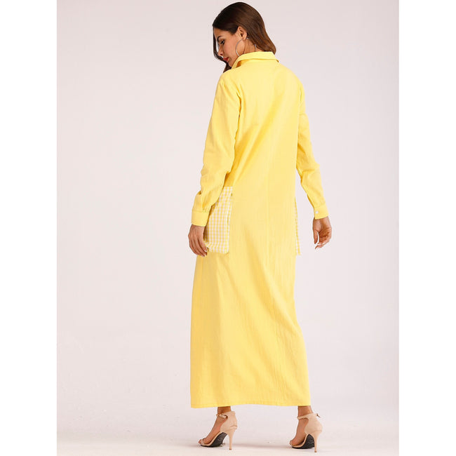 Yellow Big Pocket Collar Maxi Dress