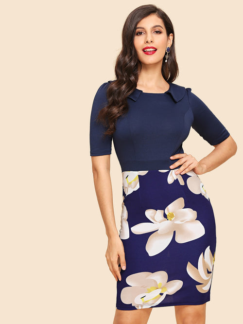 Blue Floral Print Bodycon Dress