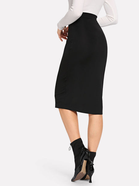 Black Slim Fitted Button Pencil Skirt