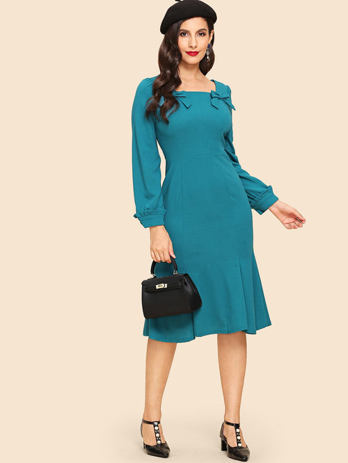 Turquoise Zip Up Bow Mermaid Dress