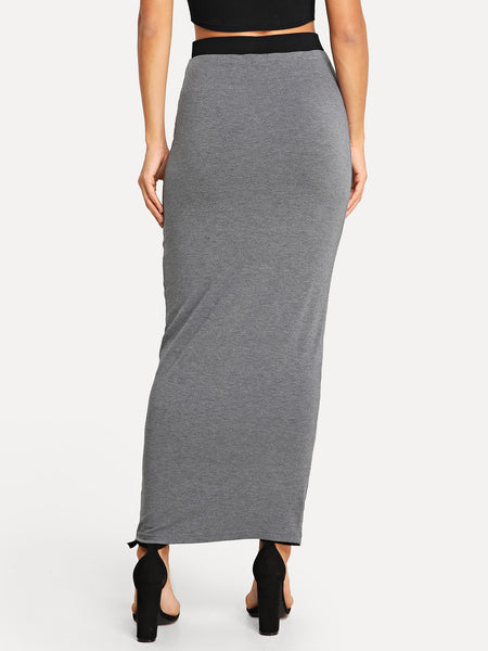 Gray or Green Solid Bodycon Skirt