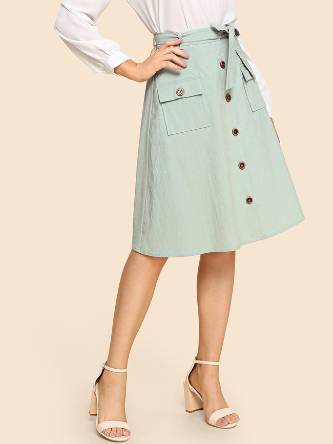 Light Green  Waist Belted Button & Pocket Up A-Line Skirt