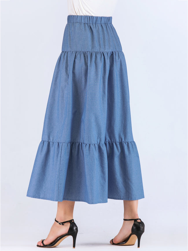 Blue Jeans Ruffle long A-Line Skirt
