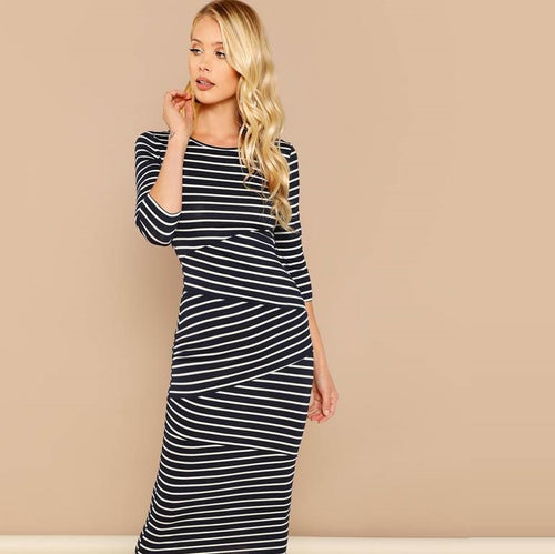 Striped Print Long Bodycon Dress