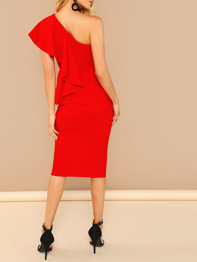 Red, Neon One Shoulder Ruffle Trim Bodycon Dress