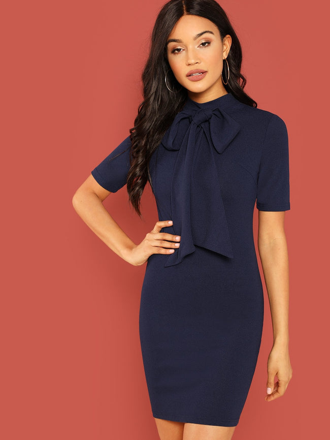 Navy Bow Tie Neck Solid Pencil Dress