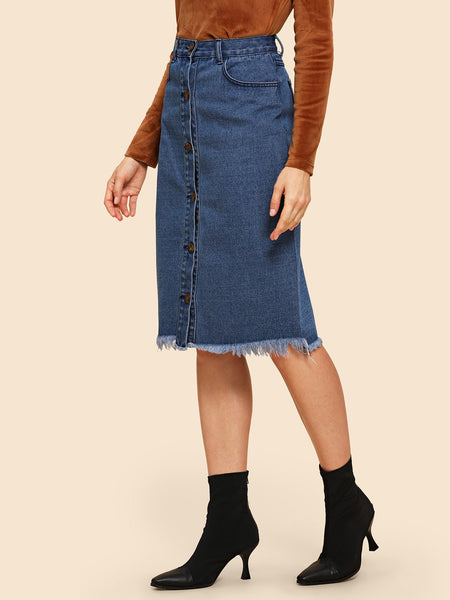 Blue jeans Raw Hem Button Up  For School Pencil Skirt