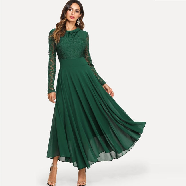 Green Lace Panel Sleeve Pleated Maxi Dress