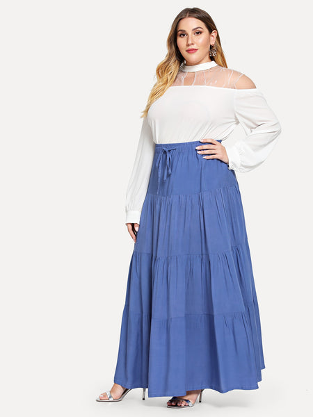 Blue jeans Drawstring Tiered Seam Plus Size skirt