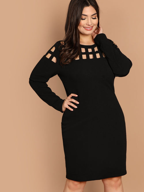 Plus Size Cut Out Solid Pencil Dress