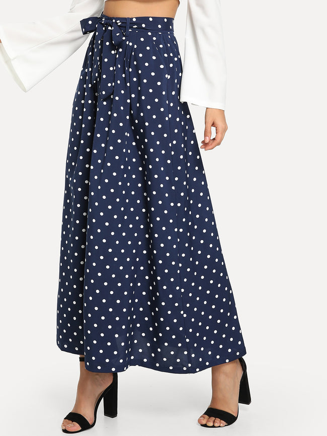 Blue Polka Dot With Belt  A-Line Maxi Skirt