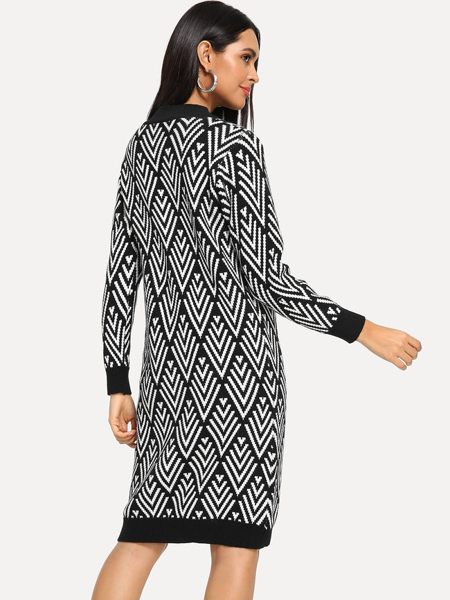 Geo Pattern Contrast Trim Sweater Dress