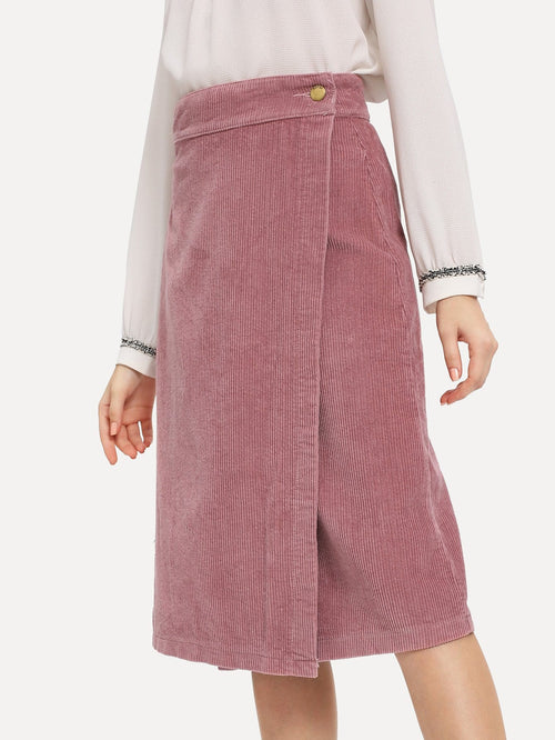 Pink Button Corduroy A-Line Wrap Skirt