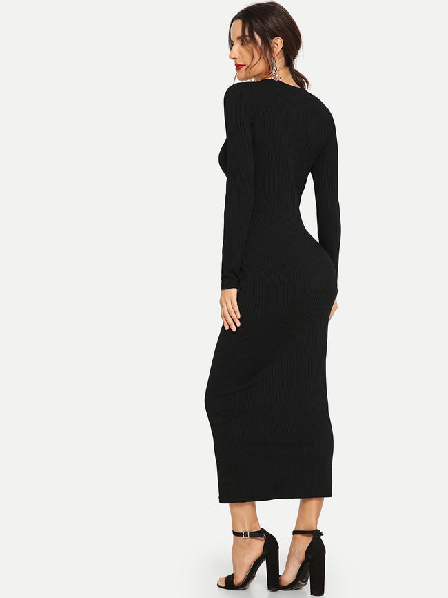 Black Button Front Rib Knit Bodycon Dress