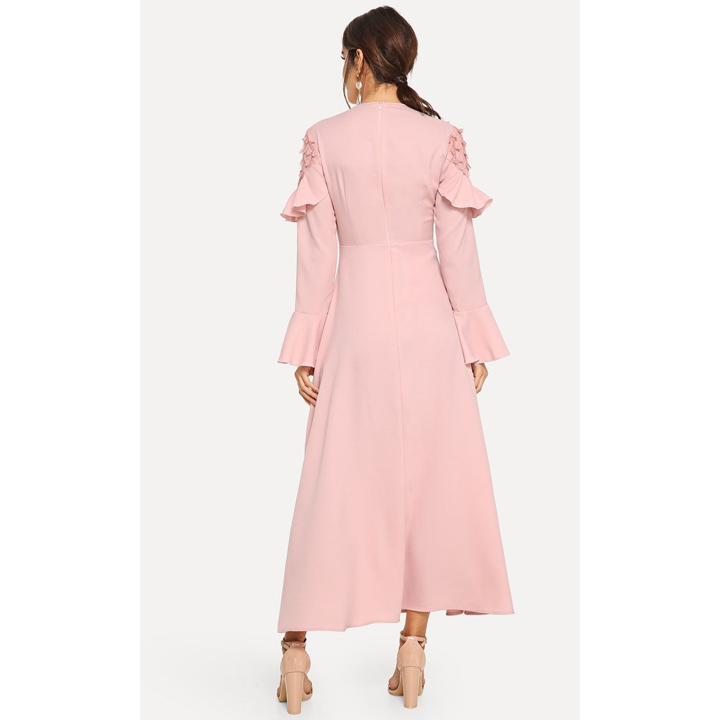 Light Pink Ruffle Detail Bell Sleeve Solid Dress