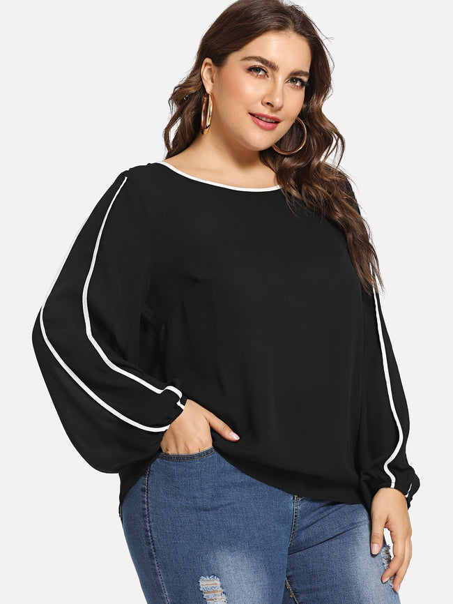 Burgundy Plus Size Casual Blouse