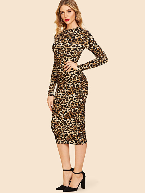 Tiger Mock-Neck Leopard 30s Bodycon Dress