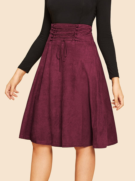 Burgundy Lace Up Vintage A- Line Midi Skirt