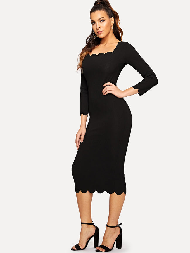 Black  Elegant Scallop Trim Bodycon Dress