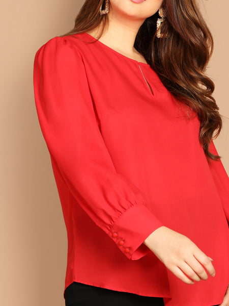 Red Plus Cut Out Round Neck Blouse